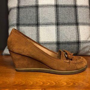Aldo real suede brown (cognac) wedge high heels
